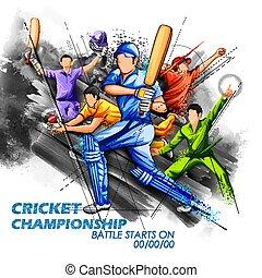 Batsman and bowler playing cricket championship sports -...