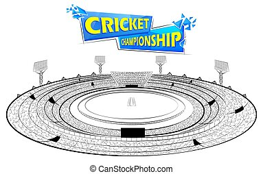 Stadium of Cricket with pitch for champoinship match
