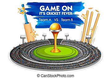 Stadium of Cricket with Bat, wicket and Trophy