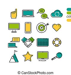 Set linear work process colored icons - Vector colored thin...