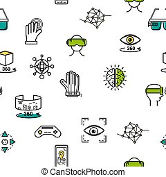 Seamless pattern with vr icons - Vector virtual reality...