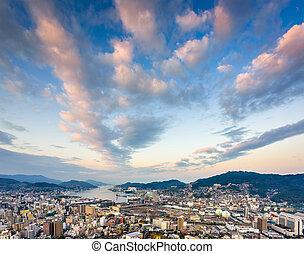 Nagasaki Japan Skyline - Nagasaki, Japan skyline at dawn.