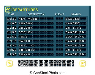 Airport Board Concept - Airport board concept with time...