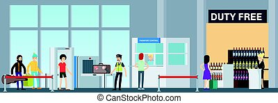 Colorful Airport Security Concept