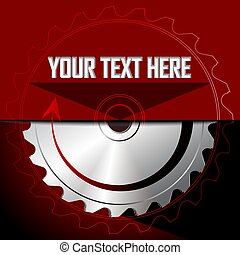 Circular saw blade on the red background