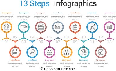 Process Diagram Template - Infographic template with 13...