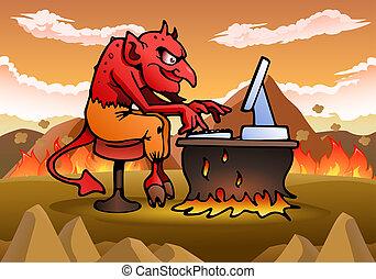 satan using computer - illustration of a satan using...