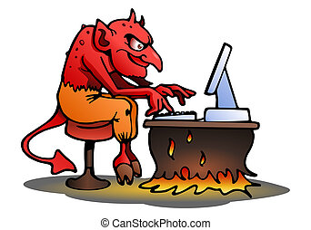 satan on isolated white - illustration of a satan using...