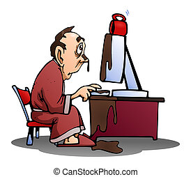 spilled coffee on computer - illustration of a man spill his...