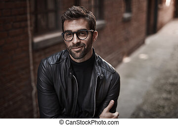 Leather and glasses guy