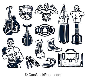 Set boxing icons isolated on white. - Set of boxing icons...