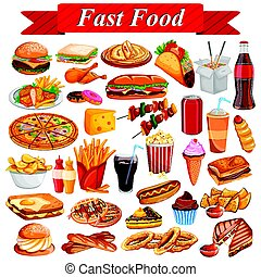 Delicious tasty Fast Food and drink item