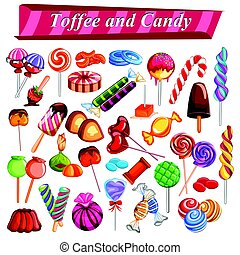 Full collection of different colorful candy and toffee chocolate