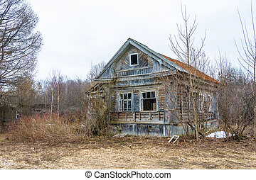 Abandoned old wooden house.