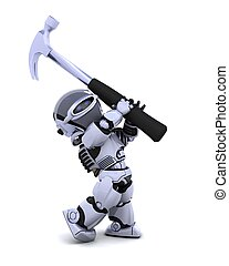 robot with hammer - 3D render of robot with claw hammer