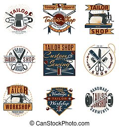 Colored Premium Tailor Shop Logotypes Set - Colored premium...