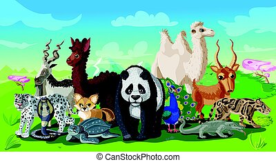 Cartoon Asian Animals Template