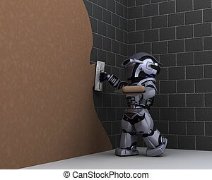 robot contractor plastering a wall - 3D render of robot...