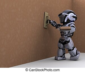 robot contractor plastering a drywall - 3D render of robot...