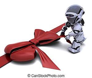 robot, regalo, arco