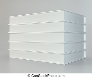 white stack of books on gray background. 3d rendering