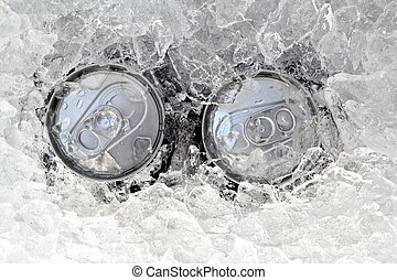 two drink can iced submerged in frost ice closeup