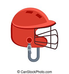 red protective baseball helmet