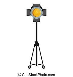 yellow spotlight for film studio - Flat vector cartoon...