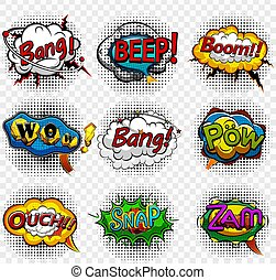 Comic speech bubbles on transparent background vector