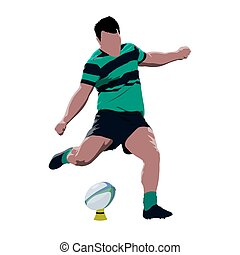 Rugby player kicking ball, abstract vector isolated illustration