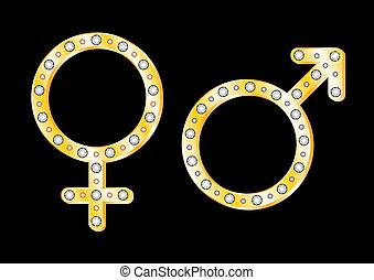 Gold gender symbols