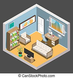 Vector isometric room.