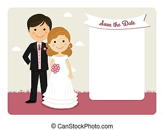 Cartoon wedding invitation with a smiling couple