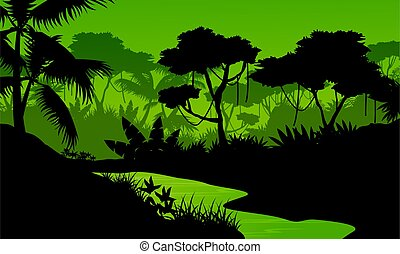 Silhouette of jungle with river landscape