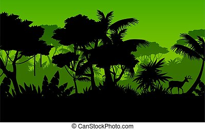 Silhouette of rain forest with deer scenery vector...