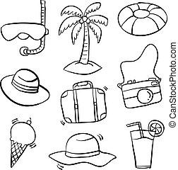 Object summer holiday doodle style