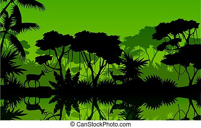Silhouette rain forest with lake scenery vector illustration