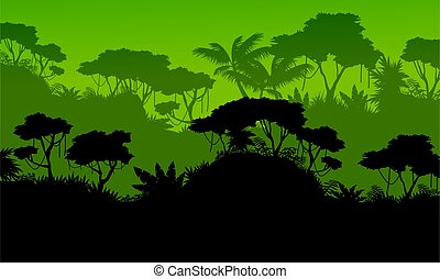 Silhouette of rain forest scenery vector illustration