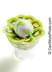 Swwet and sour kiwi ice cream and whipped cream