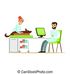 Smimling veterinarian examining dog in clinic. Colorful cartoon character Illustration