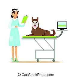 Smiling female veterinarian examining dog in vet clinic. Colorful cartoon character