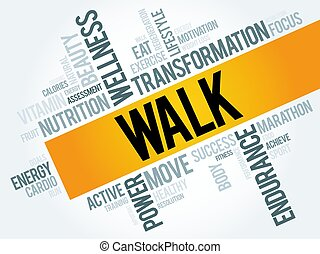 WALK word cloud, fitness, sport, health concept