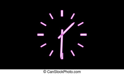 ClockE-25 - Motion background with spinning clock in 12 hour...