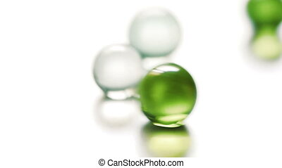 Colorful rolling glass marbles