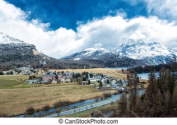 The village of Sils Maria in the Engadine valley near Sankt...