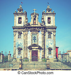 Santo Ildefonso church in Porto, Portugal. Retro style...