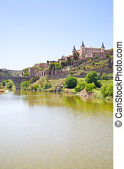 Toledo and Tagus river - Picturesque view of Toledo and...