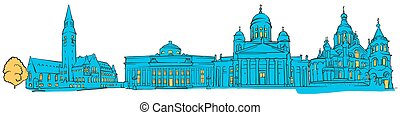 Helsinki Finland Colored Panorama, Filled with Blue Shape...