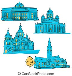 Helsinki Finland Colored Landmarks, Scalable Vector...
