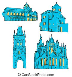 Prague Czech Republic Colored Landmarks
